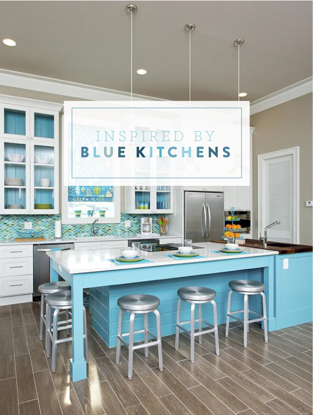 Blue Kitchens with White Cabinets