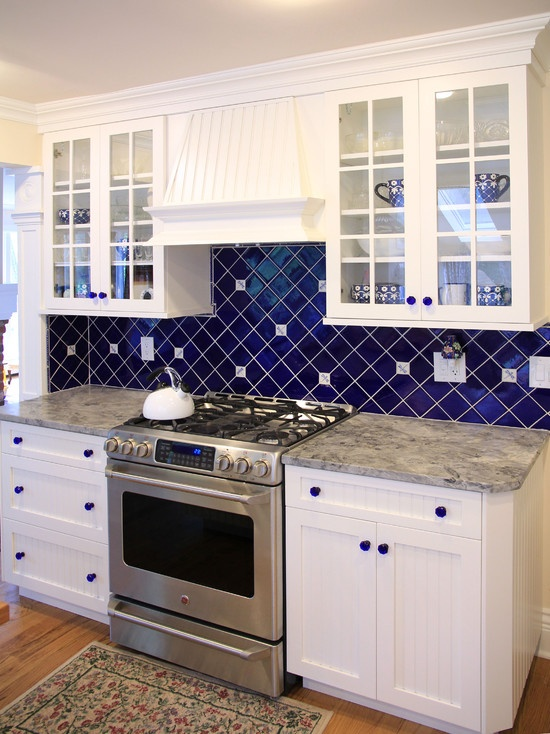 Blue and White Kitchen Backsplash