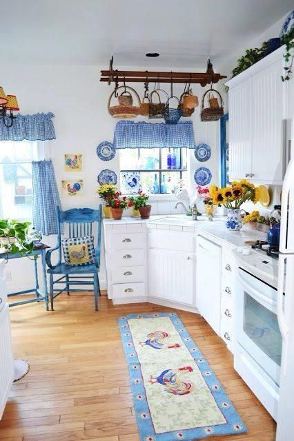 Blue and White Kitchen Roosters