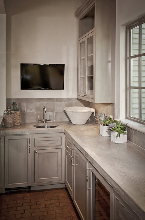 Concrete Countertops with Gray Cabinets