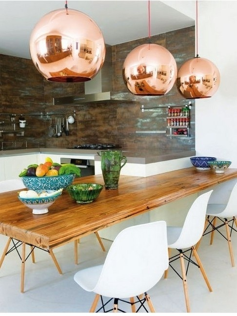 Copper Pendant Kitchen Light Fixtures
