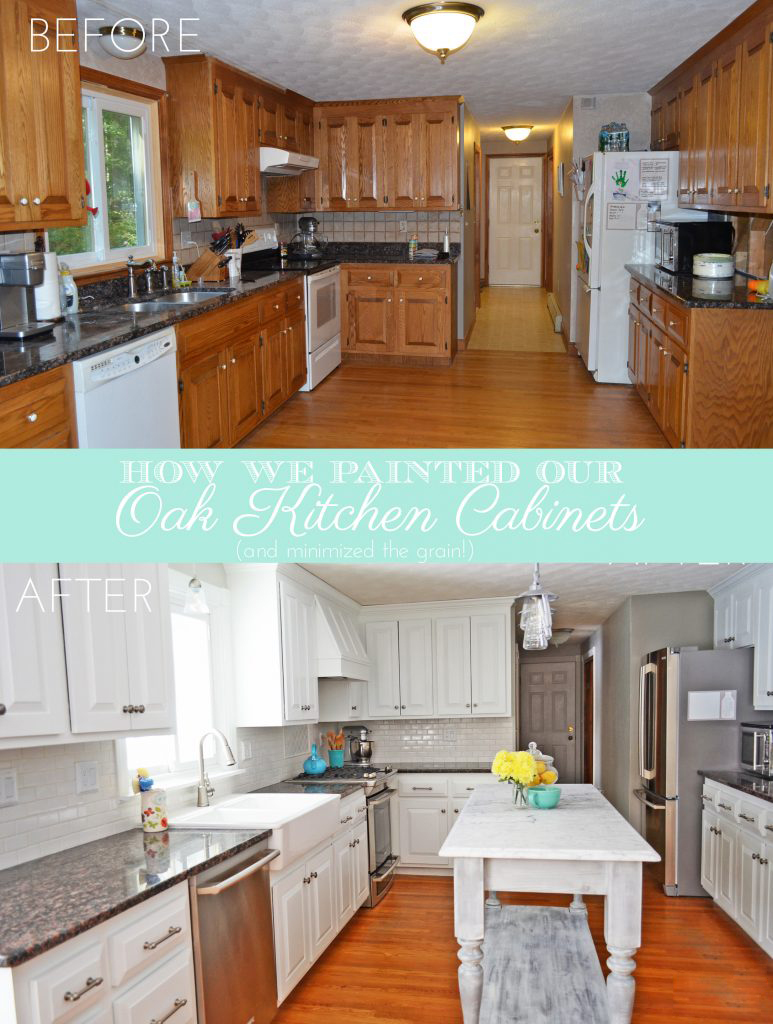 DIY Painted Kitchen Cabinets White