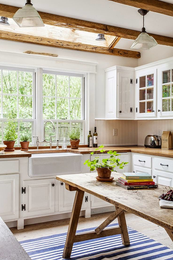 Farmhouse Kitchen with Wood Ceiling