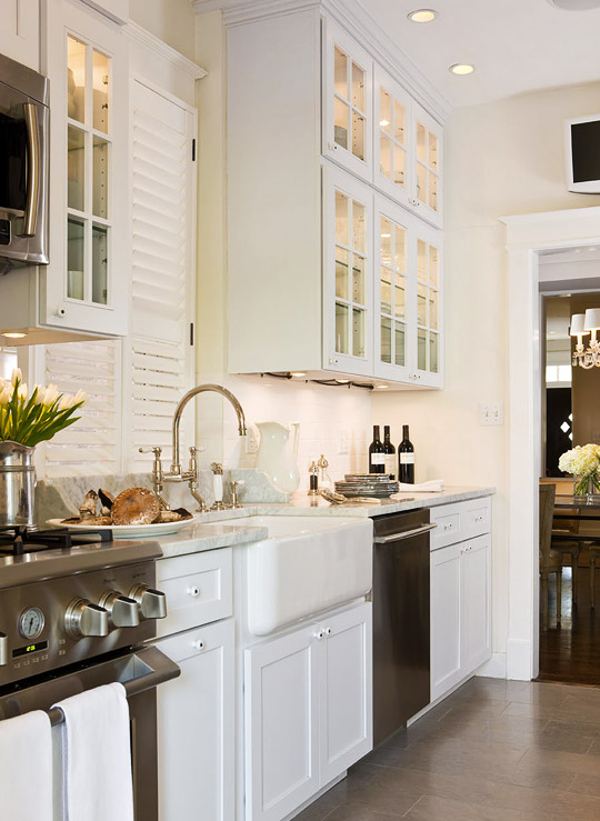 Galley Kitchen with White Cabinets