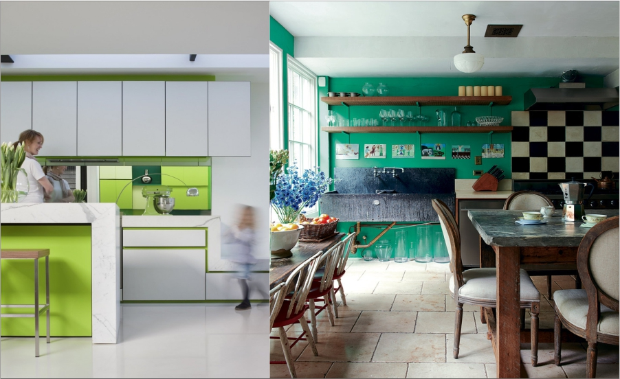 Green Effect in White Kitchen