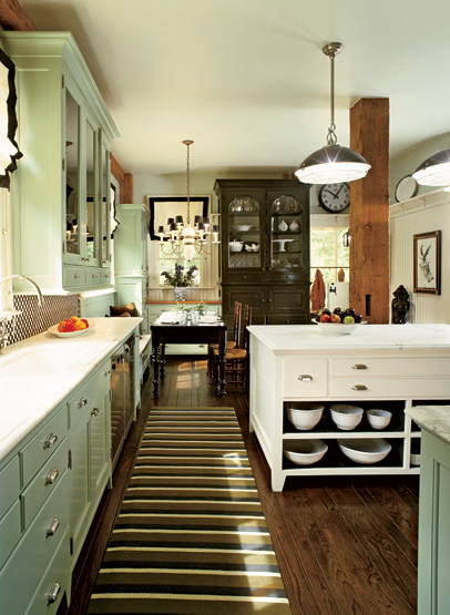 Green Kitchen Cabinets with Brown