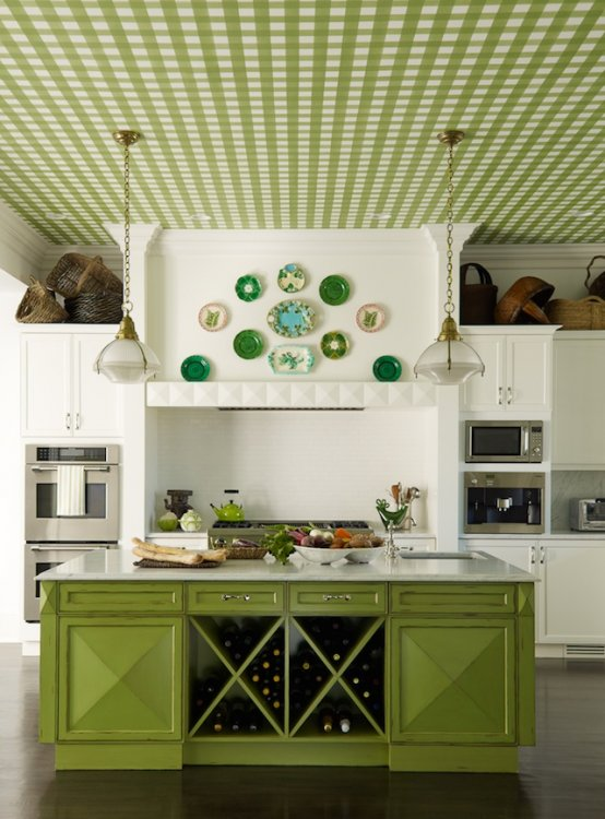 Green Kitchen Ceiling
