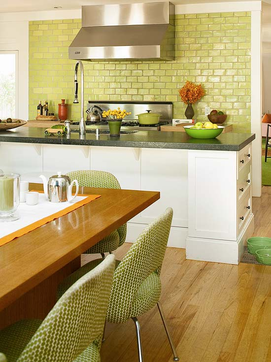 Green Kitchen with Tile