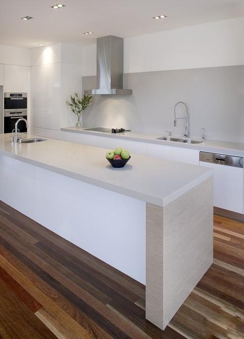 Grey and White Kitchen with Wood Floors