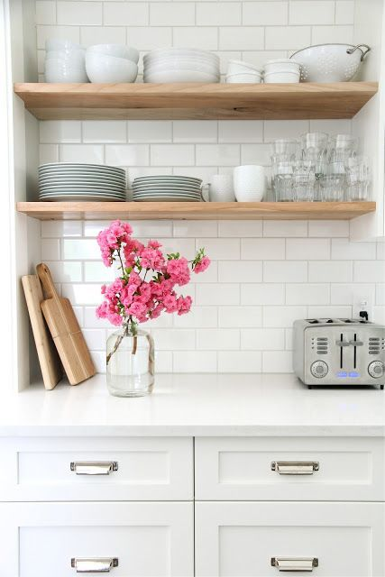 Kitchen Open Shelves White Wood