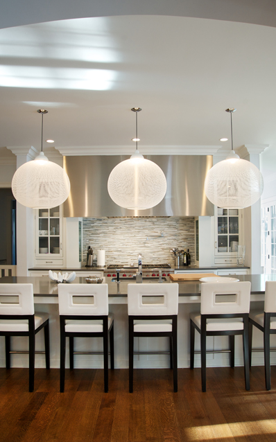 Kitchen with White Leather Bar Stools
