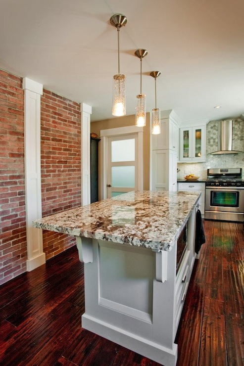 Kitchens with Exposed Brick Walls and Granite