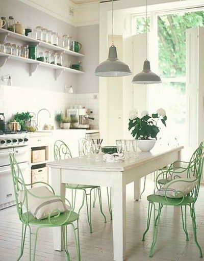 Mint Green and White Kitchen