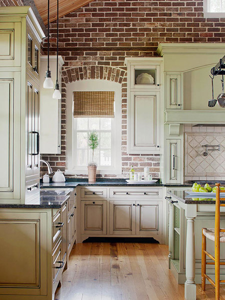 Old World Kitchens with Brick Walls