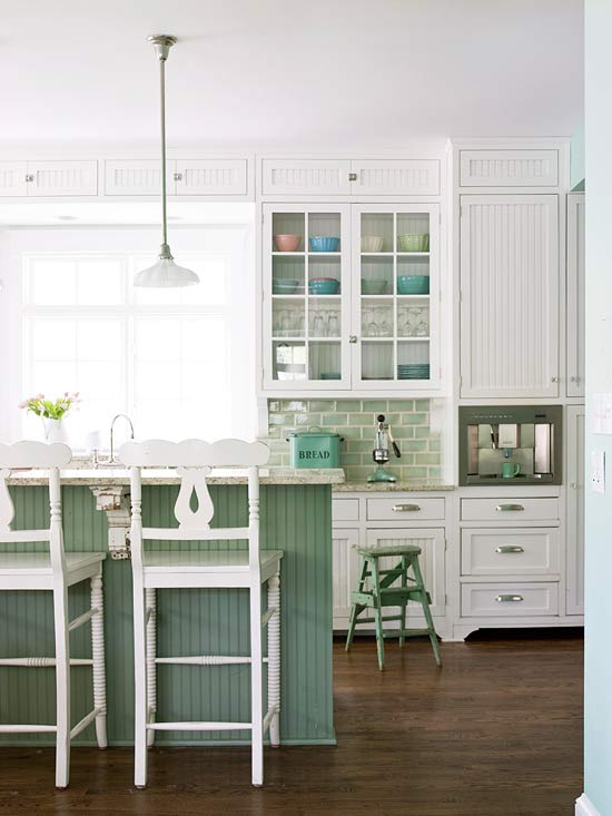 Sea Green and White Kitchen