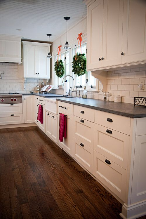 Slate Kitchen Countertops with White Cabinets