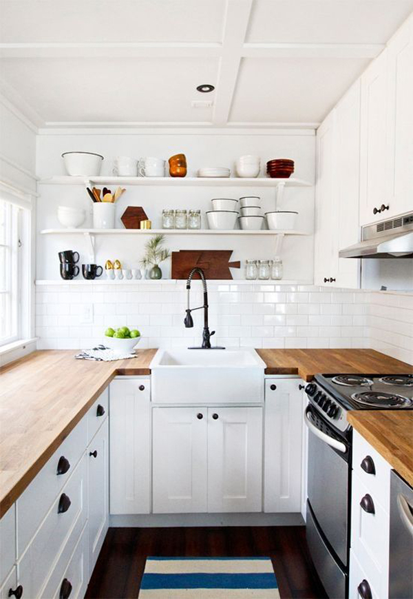 Small White Kitchen with Butcher Block Countertop