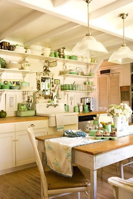 Vintage Green and Yellow Kitchen