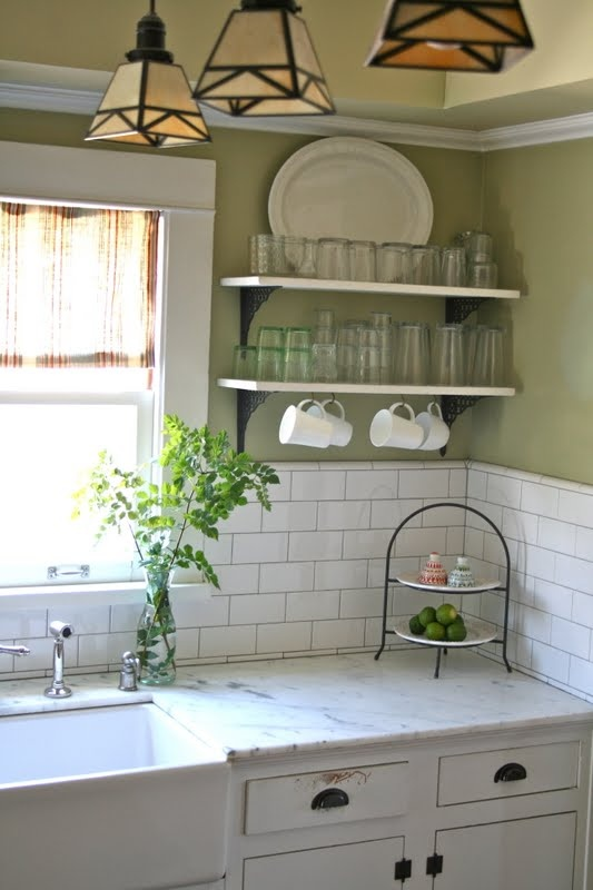 Vintage Kitchen Open Shelving