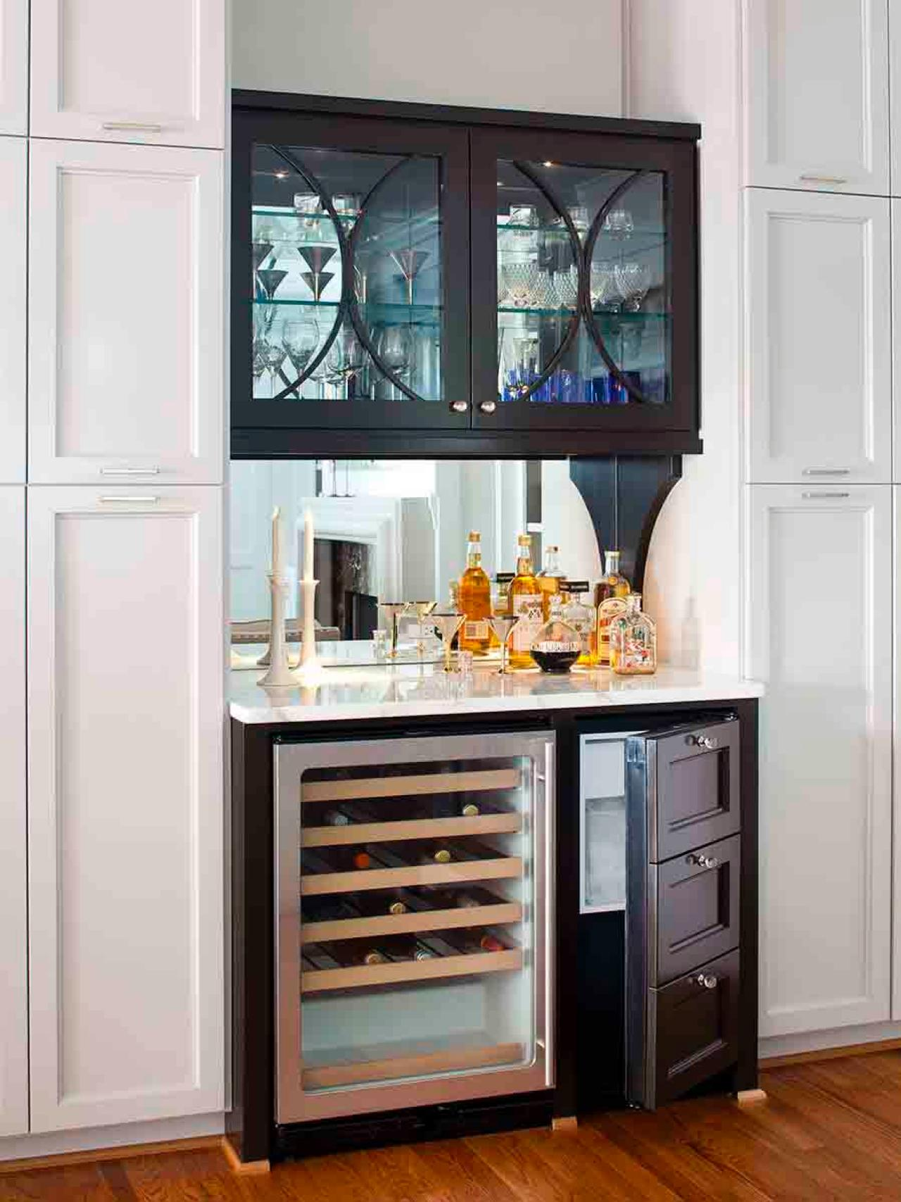 Wet Bar Cabinet with Mirror
