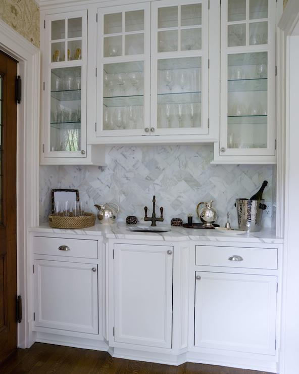 Wet Bar Cabinets with White