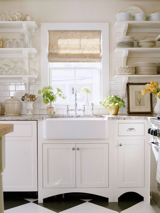White Farmhouse Kitchen Open Shelves