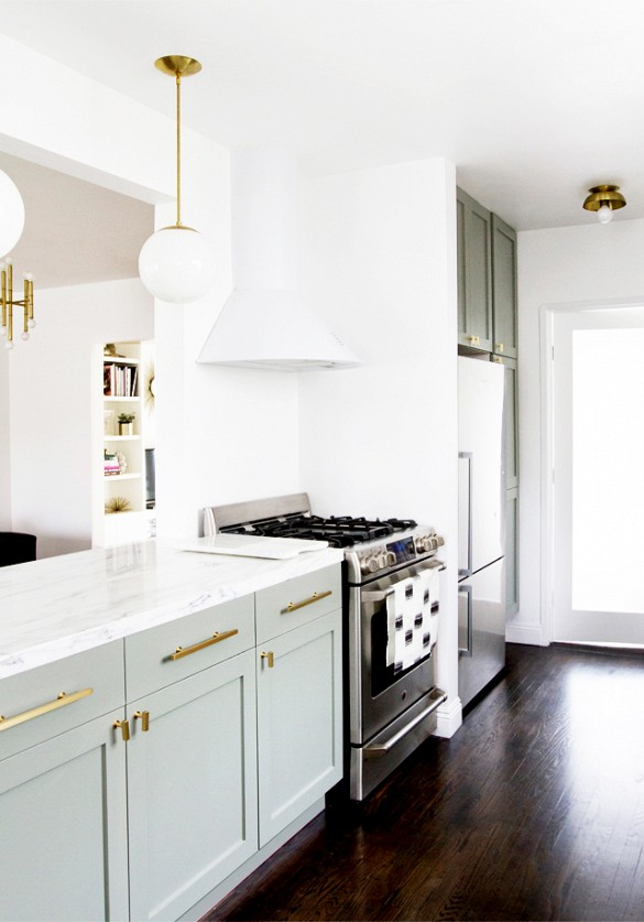 White Gold with Brass Hardware Kitchen Cabinets