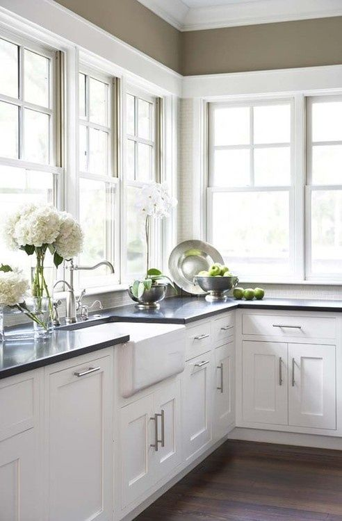 White Kitchen Cabinets and Windows