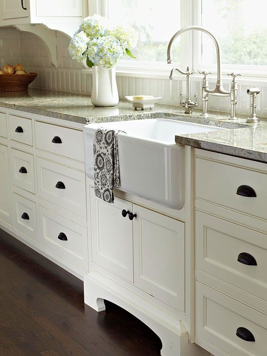 White Kitchen Cabinets with Bronze Farmhouse Sink