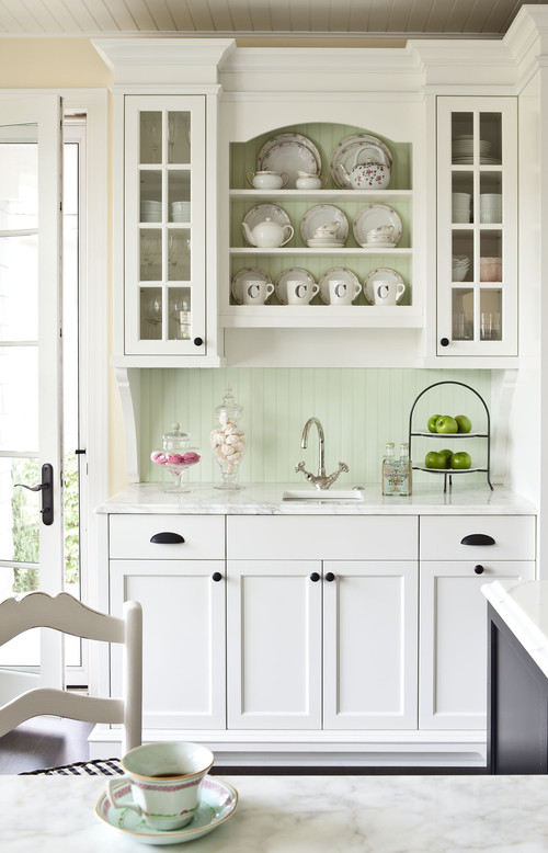 White Kitchen Cabinets with Bronze Hardware