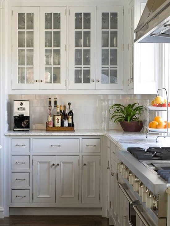 White Kitchen Cabinets with Glass Front