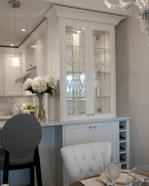 White Kitchen Cabinets with Gray Walls