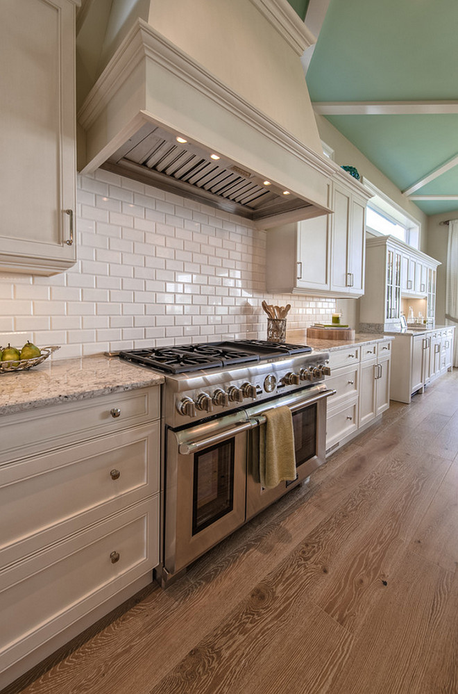 White Kitchen Cabinets with Oak Floors