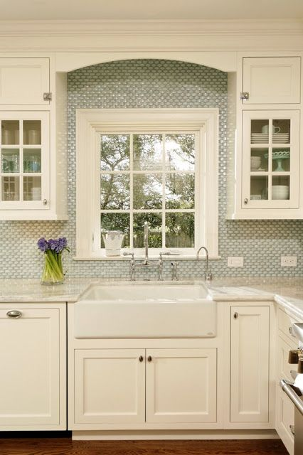 White Kitchen Tile Backsplash around Window