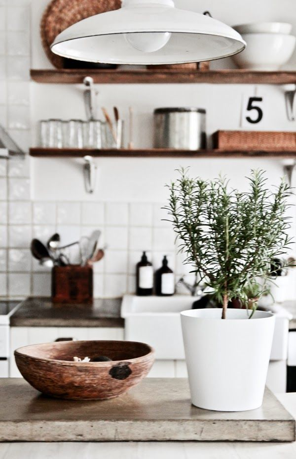 White Kitchen Wood and Concrete