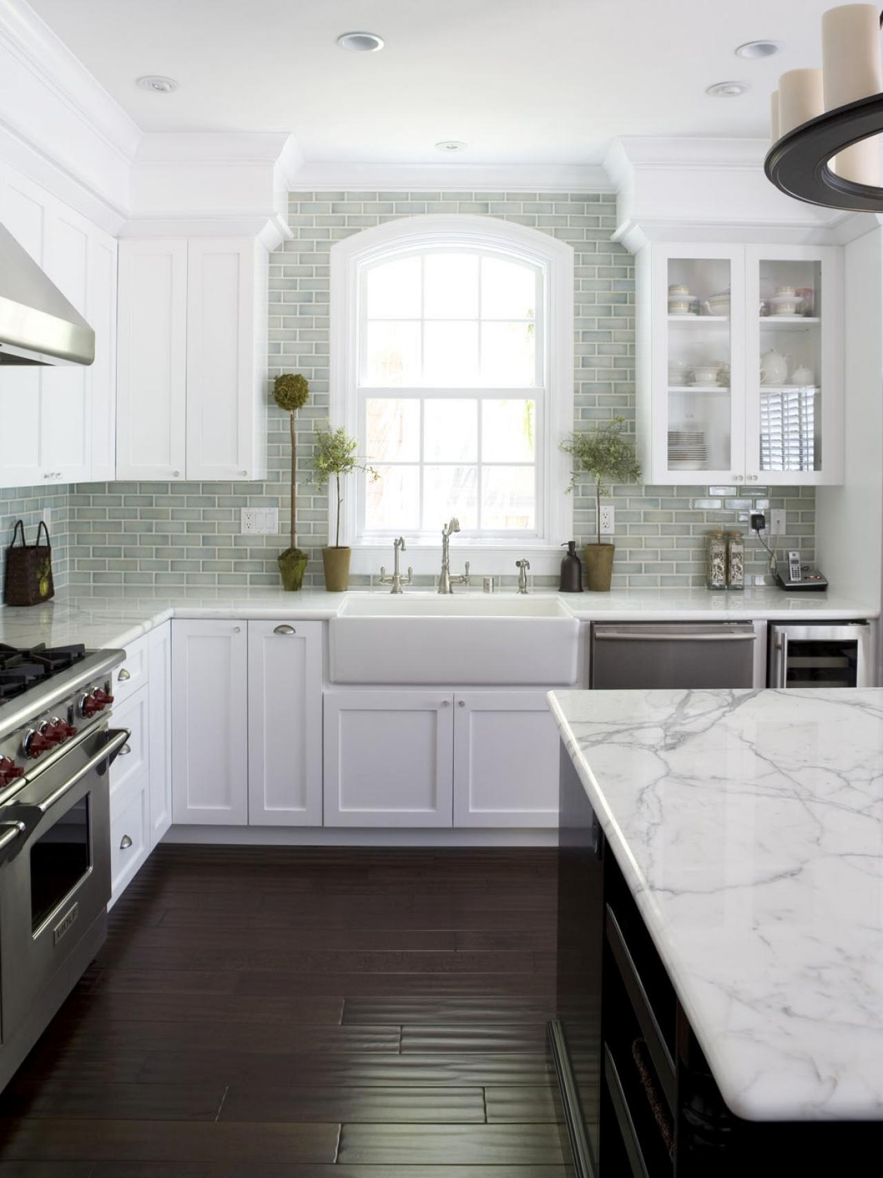 White Kitchen with Dark Tile Floor