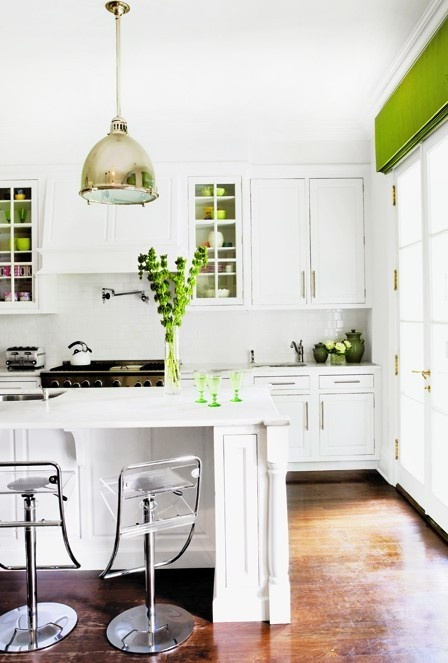 White Kitchen with Green Accents