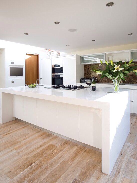 White Kitchen with Oak Wood Floors