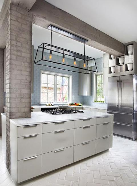 White Kitchen with Painted Brick