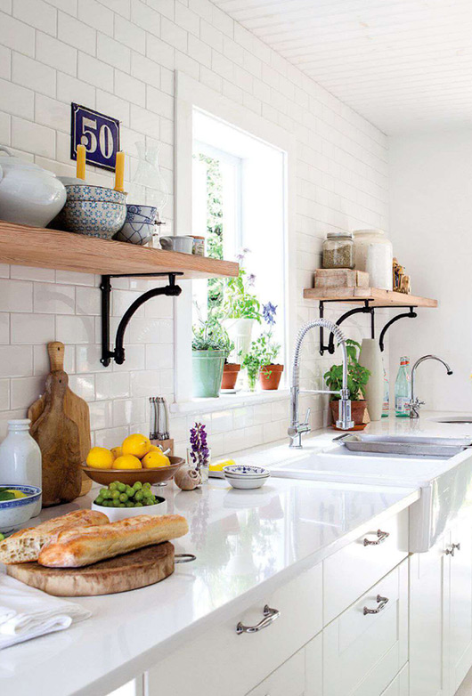 White Kitchen with Shelves