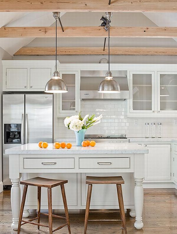 White Kitchen with Wood Beam Ceiling