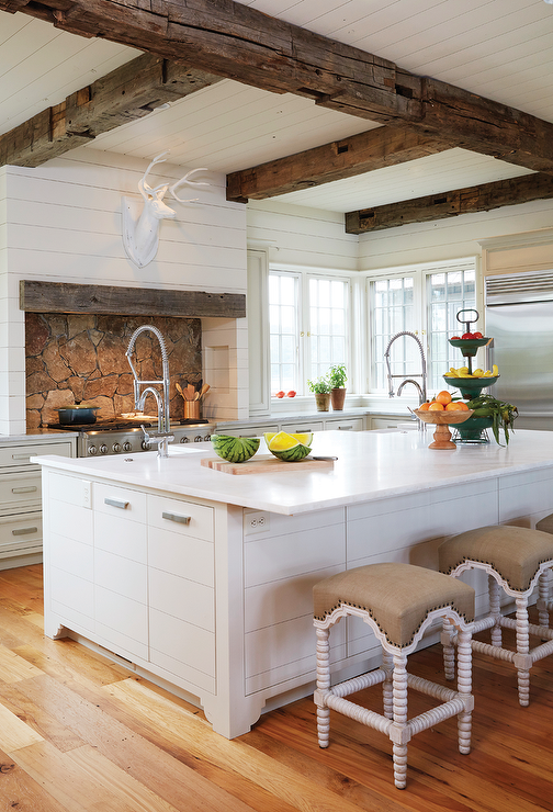 White Kitchens with Rustic Wood Beam Ceilings