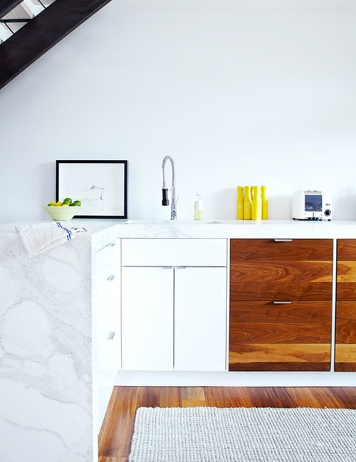 White Marble and Wood Kitchen