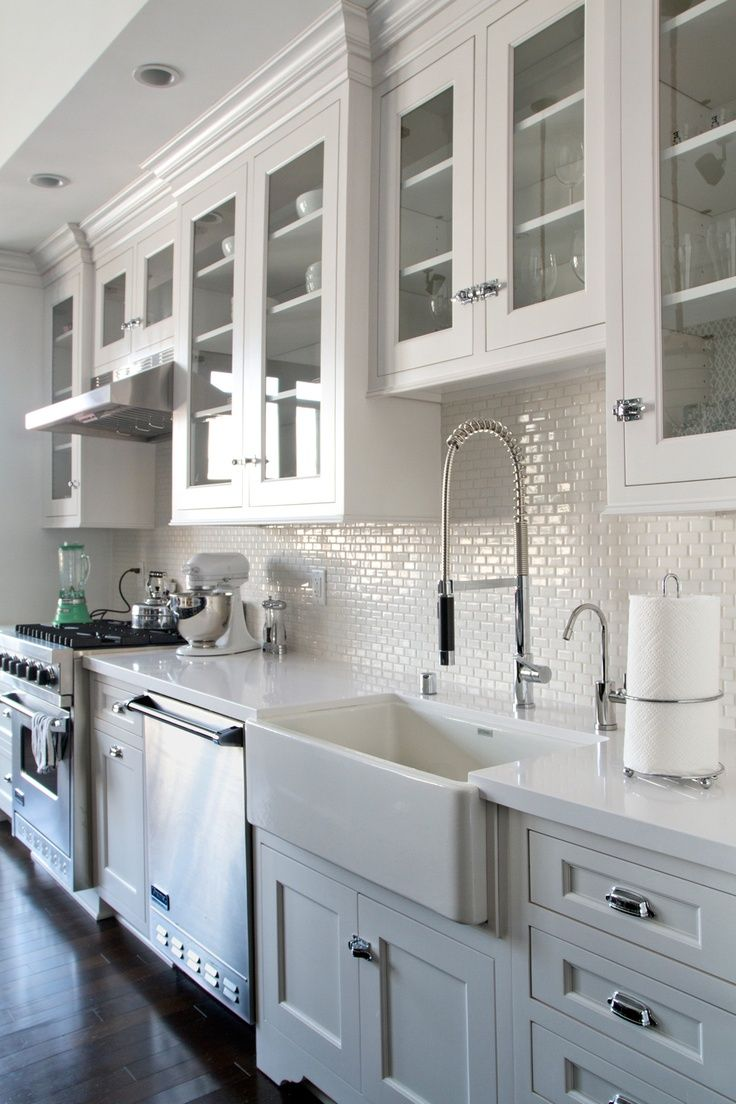 White Subway Tile Dark Cabinets Kitchen