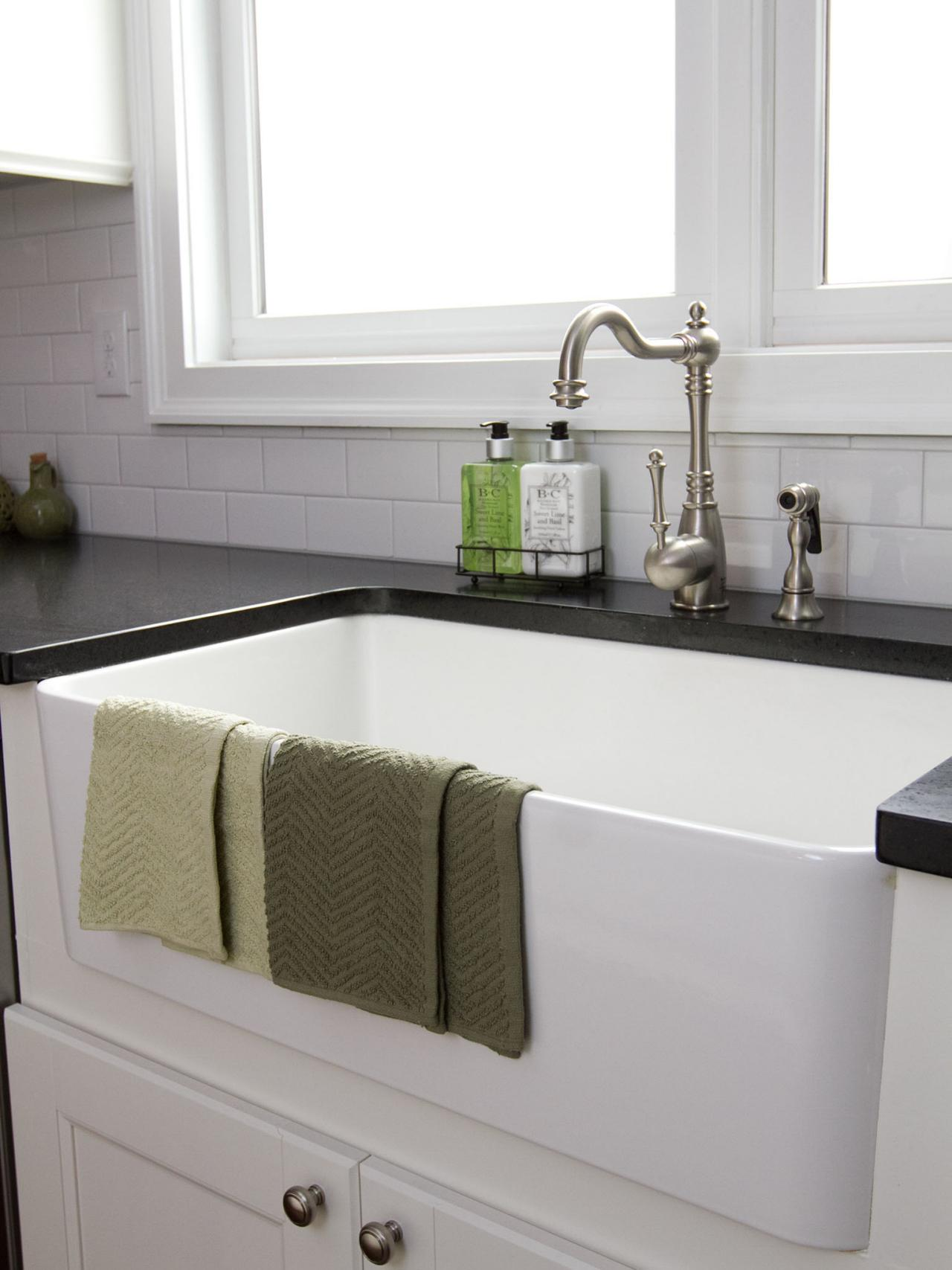 White Subway Tile Farmhouse Kitchen Sink