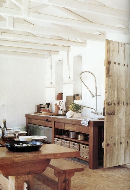 White and Wood Rustic Kitchen Island