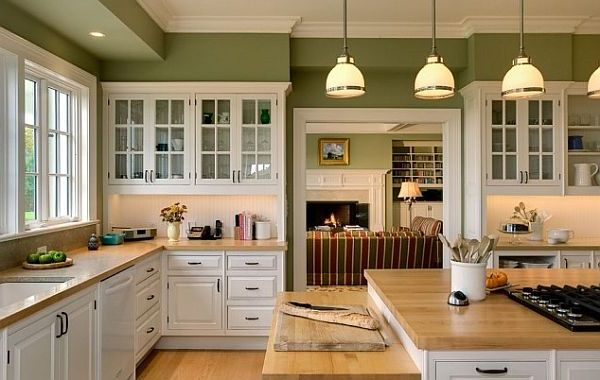 White kitchen green 2