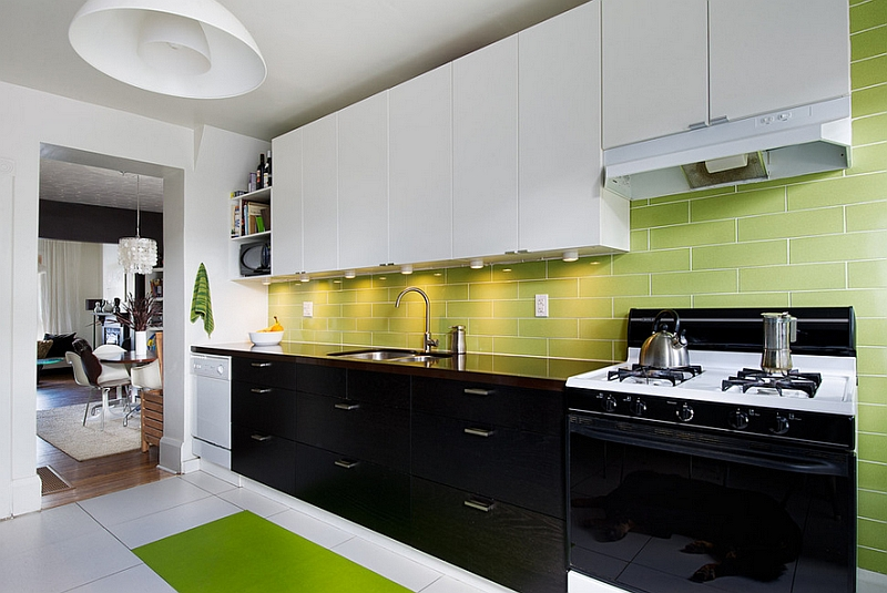 White kitchen green