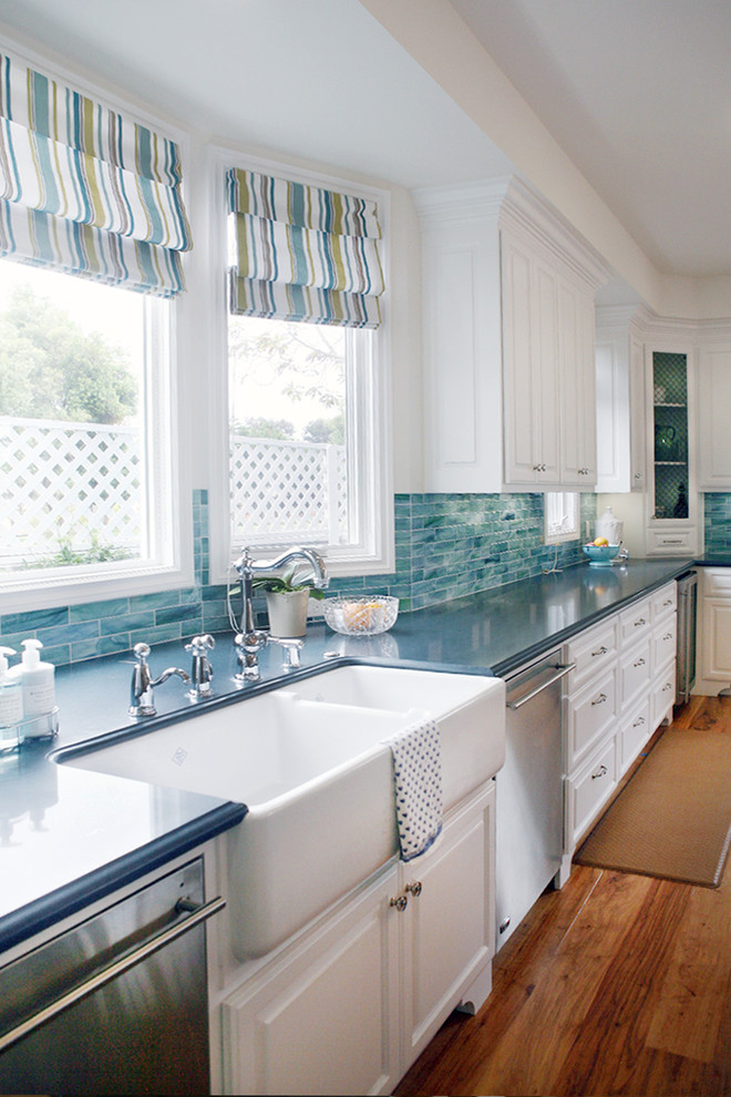 White with Blue Backsplash Kitchen