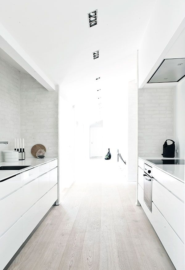 Whitewashed Brick Floor Kitchen